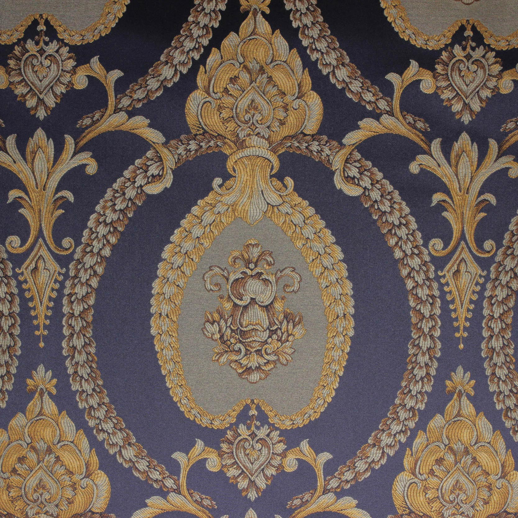 Damask 80737 50038 Navy Gold The Fabric Mill